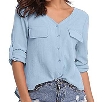 Camisas Mujer,❤ Modaworld Camisa de Manga Larga con Cuello en V de Gasa