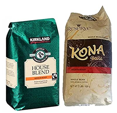 2x Pack ( Kirkland Signature House Blend, and Hawaiian Gold Kona Coffee Gourmet Blend)