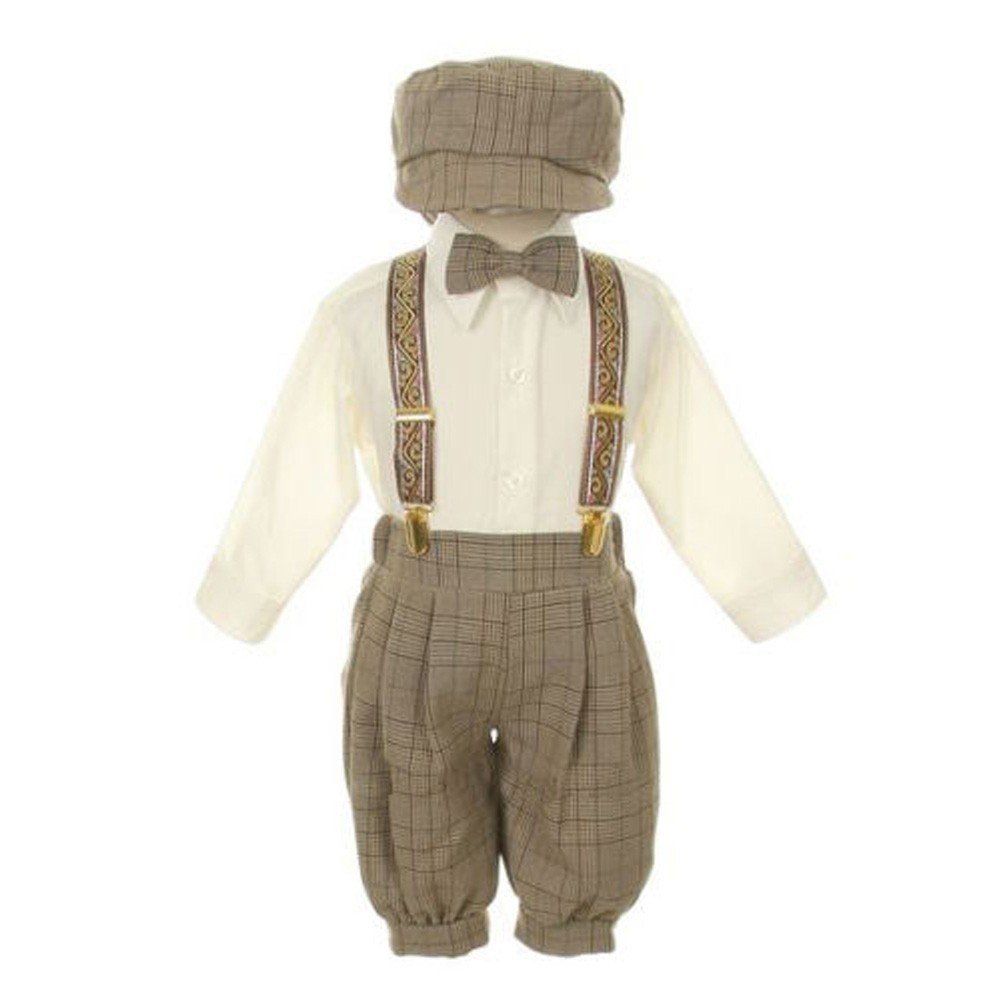 7f71e778b95 Amazon.com  Rafael Baby Boys Brown Overall Pants Knickers Vintage Outfit  Tuxedo Set 12-24M  Clothing