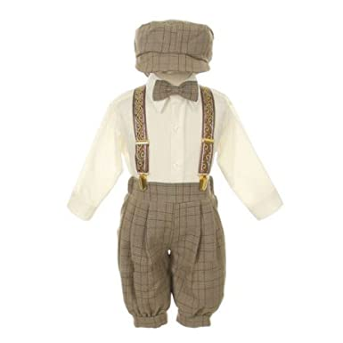 62630e23228 Rafael Baby Boys Brown Overall Pants Knickers Vintage Outfit Tuxedo Set 18M