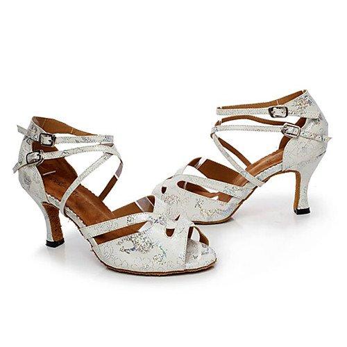 latini Swing da Jazz Tacco T Scarpe per ballo pelle grosso Practice argentati donna Sneakers Argento Indoor Q in T Performance Sandali Salsa moderne Tango wHqt4T6t
