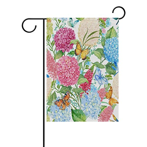 ALAZA Welcome Spring Summer Garden Yard Flag Decoration, Vintage Pink Red Apricot Blue Hydrangea Lavender Zinnia Flowers Butterfly Double Sides Polyester House Home Flags Banners, 12