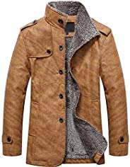 Sumen Fashion Men Autumn Winter Coats Casual Button Thermal Leather Warm Jackets