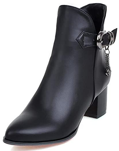 Women's Chic Buckle Belt Pointed Toe Medium Chunky Heel Side Zipper Ankle Boots