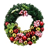 Shining Balls Striped Ribbon Christmas Wreath Artificial Wreath Front Door Wreath Decorative Wreath Home Window Shopping Mall Hotel Decoration Christmas Decoration