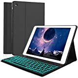 Boriyuan iPad 2 3 4 Keyboard Case, 7 Colors Backlit Detachable Keyboard Slim Leather Folio Cover for Apple iPad 2/ iPad 3/ iPad 4 (A1458/1459/A1416/A1430/A1403/A1396/A1397/A1395/A1460) - Black