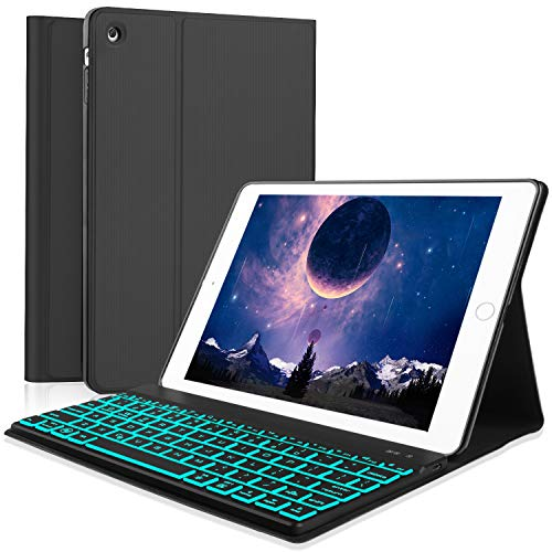 Boriyuan iPad 2 3 4 Keyboard Case, 7 Colors Backlit Detachable Keyboard Slim Leather Folio Cover for Apple iPad 2/ iPad 3/ iPad 4 (A1458/1459/A1416/A1430/A1403/A1396/A1397/A1395/A1460) - Black (Keyboard Ipad 2 Case)