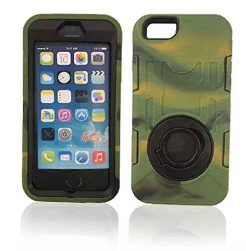 """Keoko(TM) 3 Layers Military 360 Degrees Rotating Shockproof Heavy Duty Hard Shell Rugged Case Cover Skin With Ring Kickstand For iphone 6 4.7""""(not For iphone 6 Plus)-A Built on Screen Included (Camo)"""