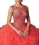 MarryingHoney Lisa Ruffles Sheer Neck Beads Ball Gowns Quinceanera Dress With Open Back