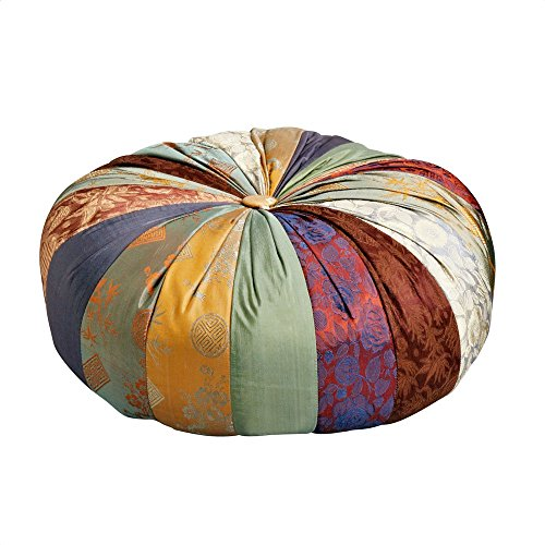 Ten Thousand Villages Colorful Patchwork Fabric Yoga Cushion 'Mindful Yoga Pillow'