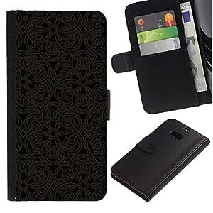 KingStore / Leather Etui en cuir / HTC One M8 / Patrón Oriental Encaje Talla Dise?o de Interiores Arte