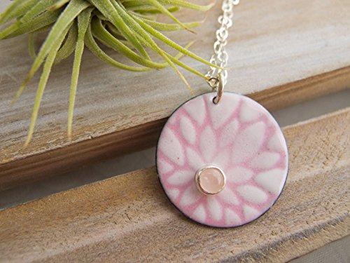 (Sterling Silver Rose Quartz Necklace, Flower Lover Gift )