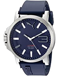 PUMA Mens PU103911003 Ultrasize Stainless Steel Watch with Blue Band