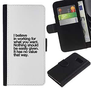 eJoy carpeta del tirón la caja de cuero de alta calidad de la PU Caso protector/Samsung Galaxy S6/-creer valor de texto inspirador inspiradora