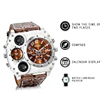 Men's Watch Oversize Steampunk Dual Time Zone Four Dial Big Face Watches Soft Leather Band Policy Army Compass… 8
