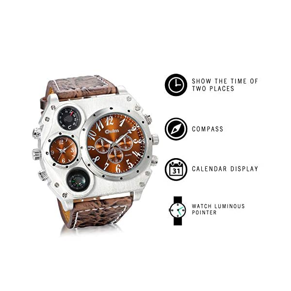 Men's Watch Oversize Steampunk Dual Time Zone Four Dial Big Face Watches Soft Leather Band Policy Army Compass… 5