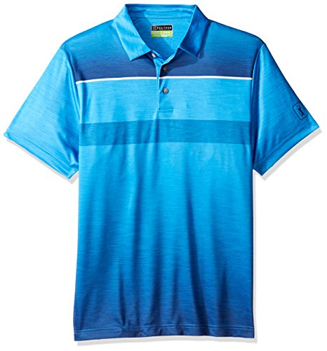 PGA TOUR Men's Short Sleeve Pro Series Ombre Pairing Chest Stripe Polo, Electric Blue Lemonade, Medium (Polos Mens Chest Stripe)