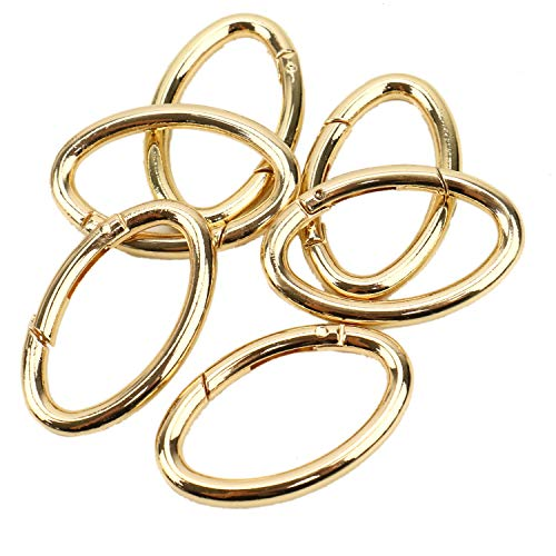 JETEHO 6 Pcs Gold Oval Spring Clip Oval Ring Carabiner Snap Clip Round Carabiner-Trigger Spring Keyring Buckle for BagsPurses