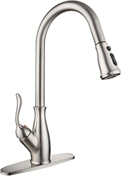 Single Handle High Arc Brushed Nickel Pull Out Kitchen Faucet Single Level Stainless Steel Kitchen Sink Faucets With Pull Down Sprayer Amazon Com