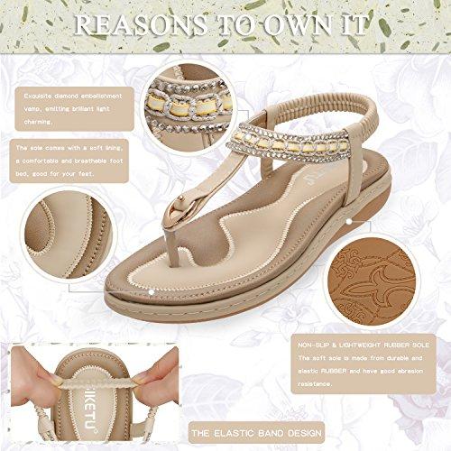 KUONUO Eleganti Scarpe Basse Strass Sandalo Sandali Estivi Beige Infradito Decorato Donna 0w0rY