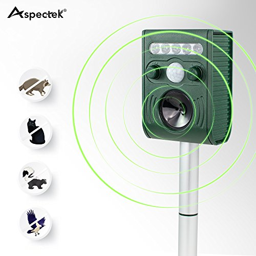Scare Cat (Aspectek - Effective Solar Battery Powered Ultrasonic Oudoor Pest and Animal Repeller, Pest and Animal Control Rodent, Raccoon, Deer, Birds, Cats, Dogs, Mice Repellent - Motion)