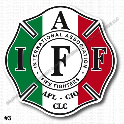 Amazon Com Fire Fighters International Association Iaff 4 Inch Red Vinyl Decal Sticker Set Of Two 2x Kitchen Dining
