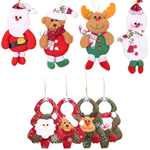 LQT Ltd 8pcs/Set Christmas Santa Claus Snowman Elk Doll Toy Christmas Tree Hanging Ornaments Decoration for Home Xmas Party New Year Gift