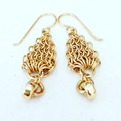 Handmade Gold Long Chain-Mail Earrings With A Dangling Ball Ear Lace Dangling Chains