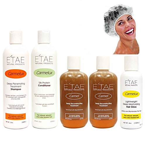 Etae Natural Shampoo, Conditioner, 2 Carmel Treatment, Hair Gloss, Shower Cap by E'TAE Natural Products
