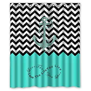 """60""""(Width) x 72""""(Height)Stylish Lovely Turquoise Infinity Colorblock Chevron Zigzag Pattern with Nautical Anchor Pattern Bathroom Shower Curtain S ,Infinity Live the Life You Love, Love the Life You Live (New Polyester) - Comfortable Life Bathroom Exclusive by Chevron Shower-curtain"""