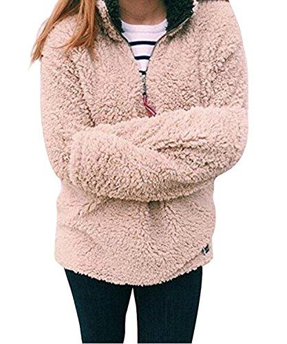 Frosty Pebbles (PxmodaWomensWoolPebblePile1/4ZipFleeceSherpaPulloverUnisexSweatshirt (Large, Pink))