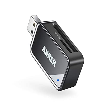 Anker 2-in-1 USB 3.0 Portable Card Reader for SDXC, SDHC, SD, MMC, RS-MMC, Micro SDXC, Micro SD, Micro SDHC Card and UHS-I Cards