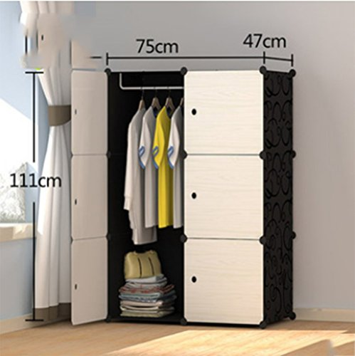 Yigui Portable Clothes Closet Wardrobe Bedroom Armoire Dresser Cube Storage Organizer,Space Saving,Ideal Storage Organizer Cube For Books, Toys, Towels,6Cubes& 1 Hanging Sections by Yigui