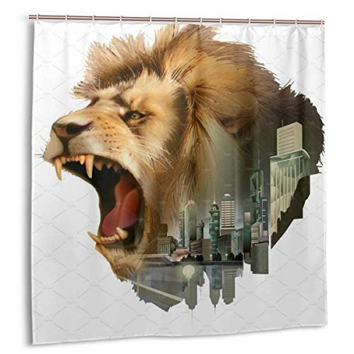 (POLKJIH Simple Modern Mildew-Resistant Roaring Lion Head Shower Curtains Print Decorative Bathroom with Hooks 72x72 in)