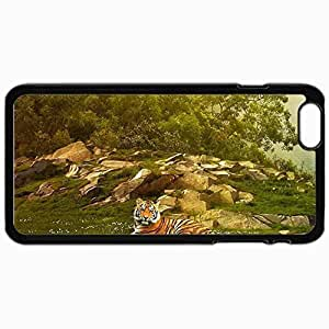 Customized Cellphone Case Back Cover For iPhone 6 Plus, Protective Hardshell Case Personalized Cool Tiger Photo Black