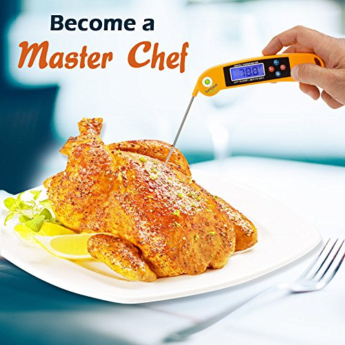 Digital Thermometer Talking Instant Read- Electronic BBQ- Great for Barbecue, Baking, Grilling, Cooking, All Food & Meat, Liquids- Collapsible Internal long Probe (Orange) By Surround Point by Surround Point (Image #1)