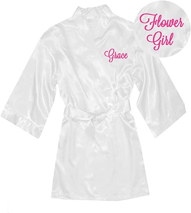 2b926f4af6 Classy Bride Personalized Satin Flower Girl Robe - White (L (Fits Ages 10-