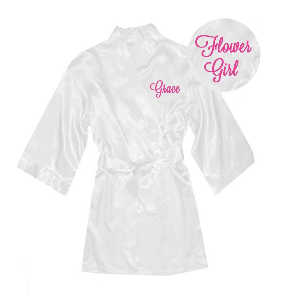 Amazon.com: Personalized Satin Flower Girl Robe - White: Clothing