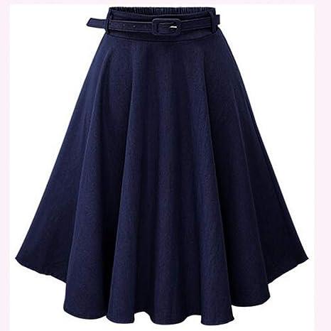 DAHDXD Otoño Invierno Moda Falda para Mujer Vintage Retro Cintura ...