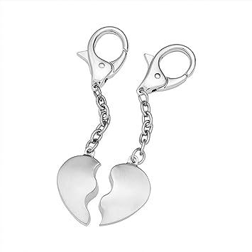 Llavero Corazón de acero inoxidable – Llaveros para parejas – Standard – Tamaño (medio corazón): aprox. 2,4 x 3,7 cm