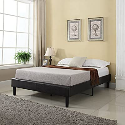 Divano Roma Furniture Bonded Leather Fabric Platform Bed Frame with Wooden Slats - Low Profile Mattress Frame Design Available in Twin, Full, Queen, and King Sizes
