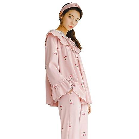 Camisones Pijamas Señoras de algodón de algodón Pijamas Anti-Mosquito de  Encaje Rosa casa de c8975a60a801