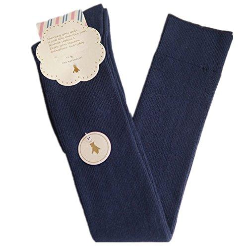 Womens Girls Cotton Over-Knee Thigh-Highs Socks Leggings (Navy Blue)