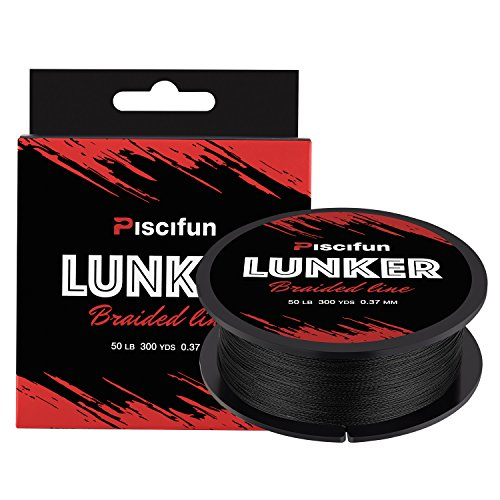 Piscifun Lunker Braided Fishing Line Black 12lb (Bulk Bass Strings)