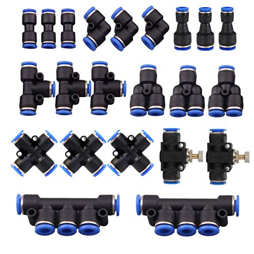22 Pcs Plastic Push to Connect Fittings Kit, 1/4