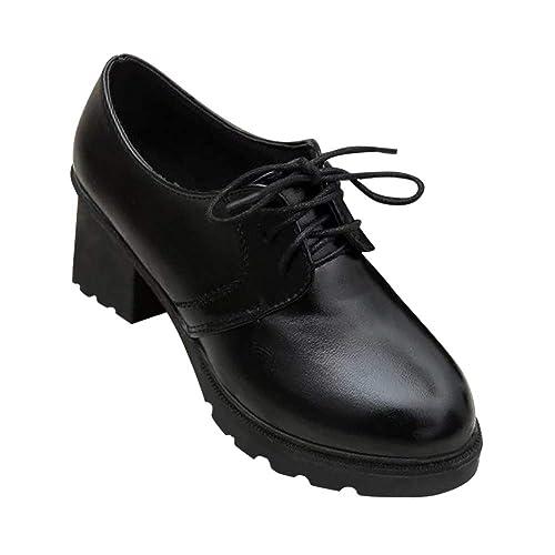 4750af5c2ec8 Tenthree Chaussures Femme Brogue Bottines - Plateforme Bloc 6cm Talons  Hauts Bout Rond Suède Boucle Bride