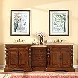 Silkroad Exclusive Bathroom Vanity Travertine Top Double Sink Cabinet, 90''