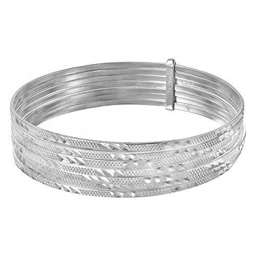 - 15mm Sterling Silver Bracelet Semanario Bracelet Multi Engraved?Interlocking Slip On Round Bangle Bracelet (6, 7.5, 8, 8.5 Inch), 8