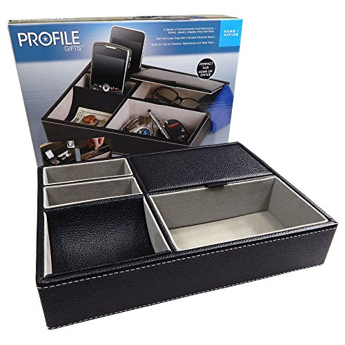 (Profile Gifts 10 Inch Black Leatherette Valet Tray - 5 Compartments)