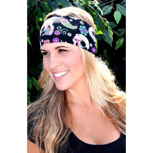 RAVEbandz Fashion Stretch Headbands (SUGAR SKULLS) - Non-Slip Sports & Fitness Hair Bands for Women and Girls